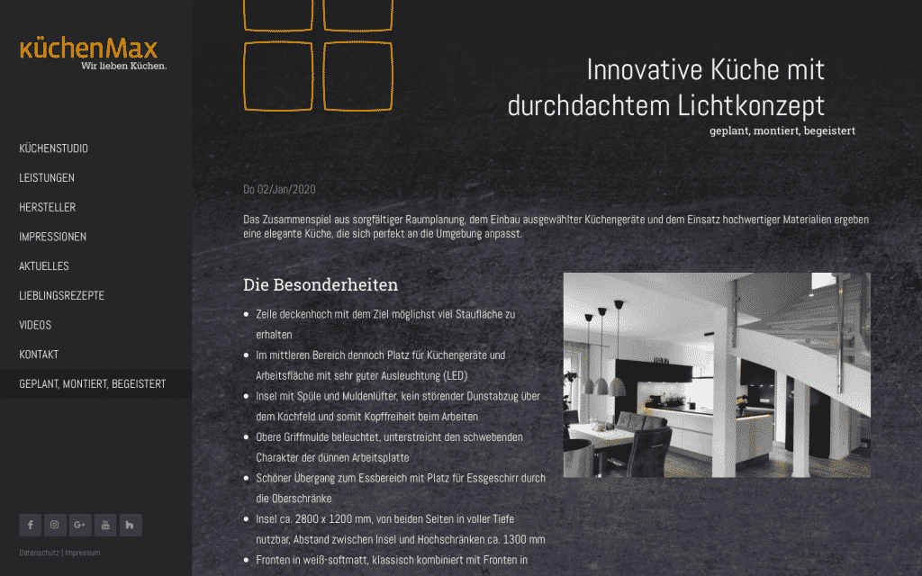 Küchen Max Küchenstudio Website Screenshot